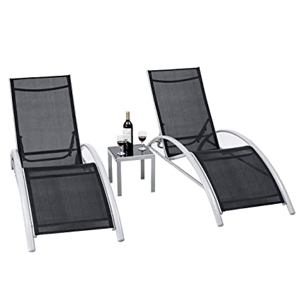 Fine Giantex 3 Piece Chaise Lounge Set Aluminum Frame For Outdoor Patio Garden Yard Pool Furniture Adjustable Chaise Lounge Chairs Black Gmtry Best Dining Table And Chair Ideas Images Gmtryco
