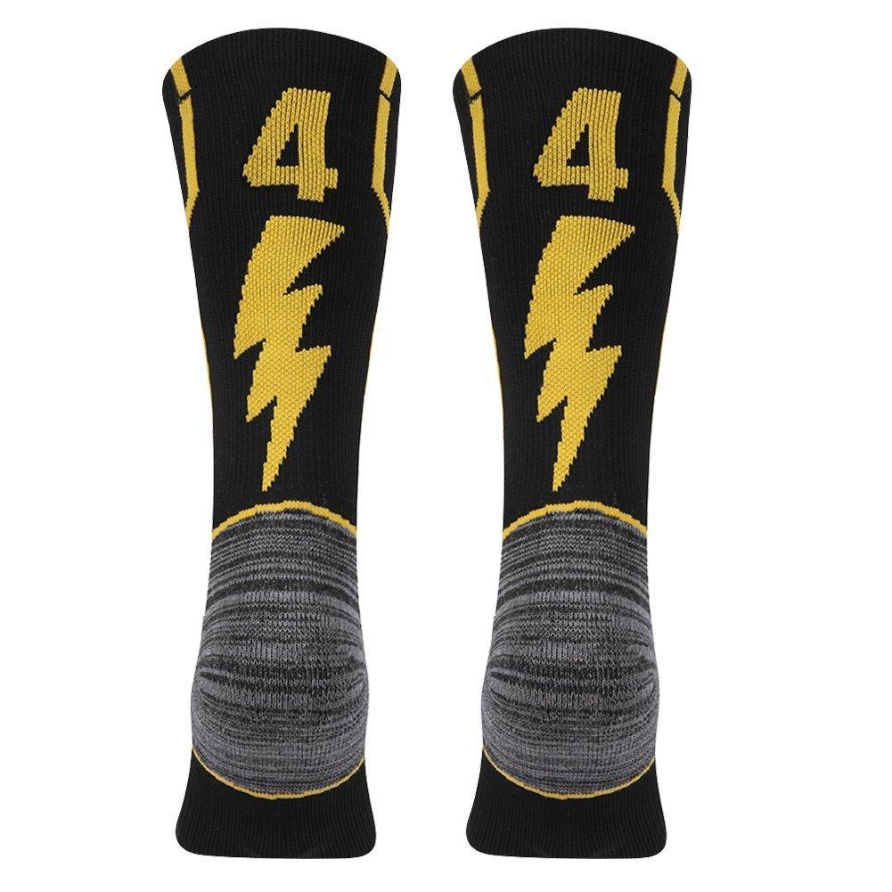 KitNSox Adult Youth Mid Calf Cushion Team Sports Number Socks for Basketball Football Baseball Gold//Black