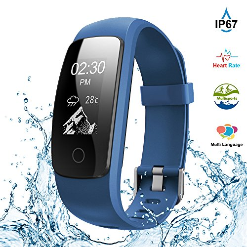 Fitness Tracker,Touch Screen Waterproof Activity Tracker with Heart Rate Monitor Watch Bluetooth Smart Watch Sleep monitor Pedometer Wristband Calorie Step Counter Watch for Android & iOS (Blue)