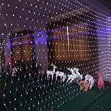 Decorative Buckets: Christmas Lights for Decorations | Christmas Decorations | 224 LED MESH Curtain |Christmas Fairy Lights |Garland String Lights| (White)