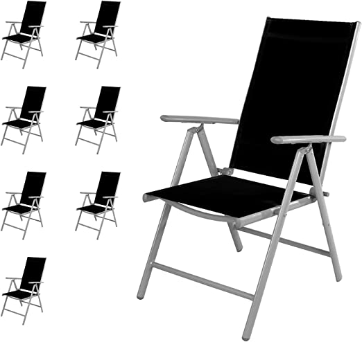 Mojawo 8 Pieza Silla de jardín – Respaldo Alto 7 Posiciones – Plegable – Silla Plegable – Resistente a la Intemperie – Muebles de Jardín Impermeable de Aluminio – Plata/Negro: Amazon.es: Jardín