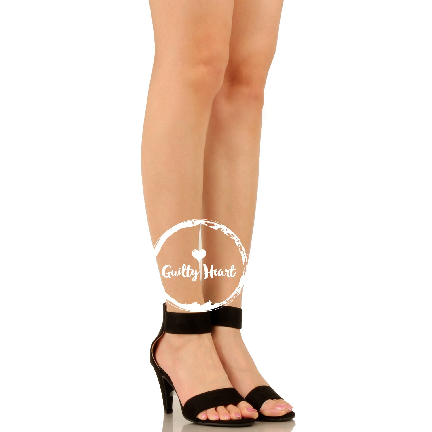 Guilty Shoes Womens Classic Comfort Sexy Open Toe Mid Heel Ankle Strap Dress Stiletto Heeled-Sandals, Black Suede, 8 by Guilty Shoes (Image #5)