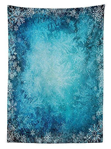 Winter Decorations Tablecloth Digital Made Winter Background with Snowflake Figure in Soft Colors Theme Dining Room Kitchen Rectangular Table Cover (Butterfly Tie Dye Bandana)