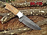 Cheap 9″ Long hand forged Damascus steel skinning knife, 4.5″ full tang blade, Natural rose wood scale with Brass bolster, Cow hide Leather sheath with belt loop (Kow Wood)