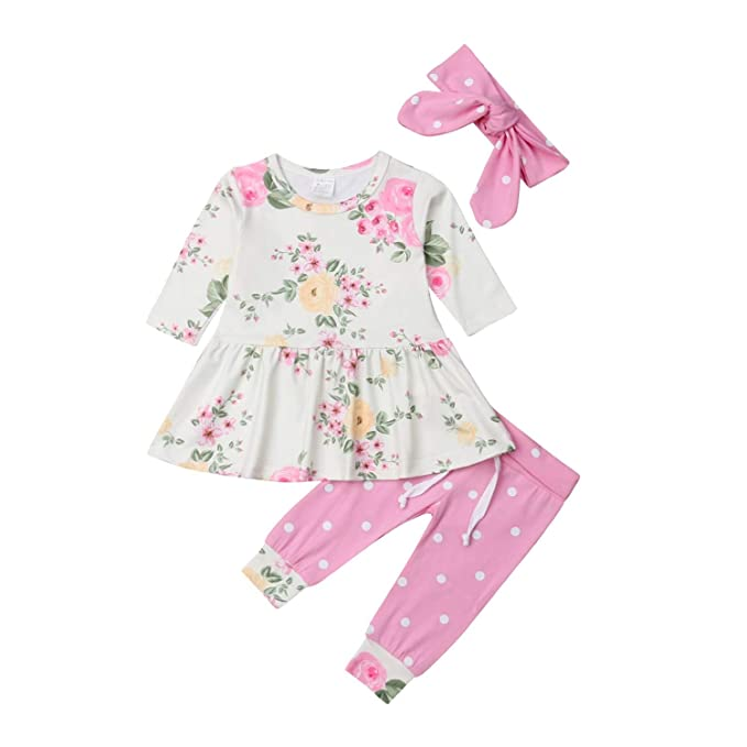 b8fda6124caf2 Amazon.com: Toddler Baby Girls Floral Tops Long Sleeve Dress Polka ...