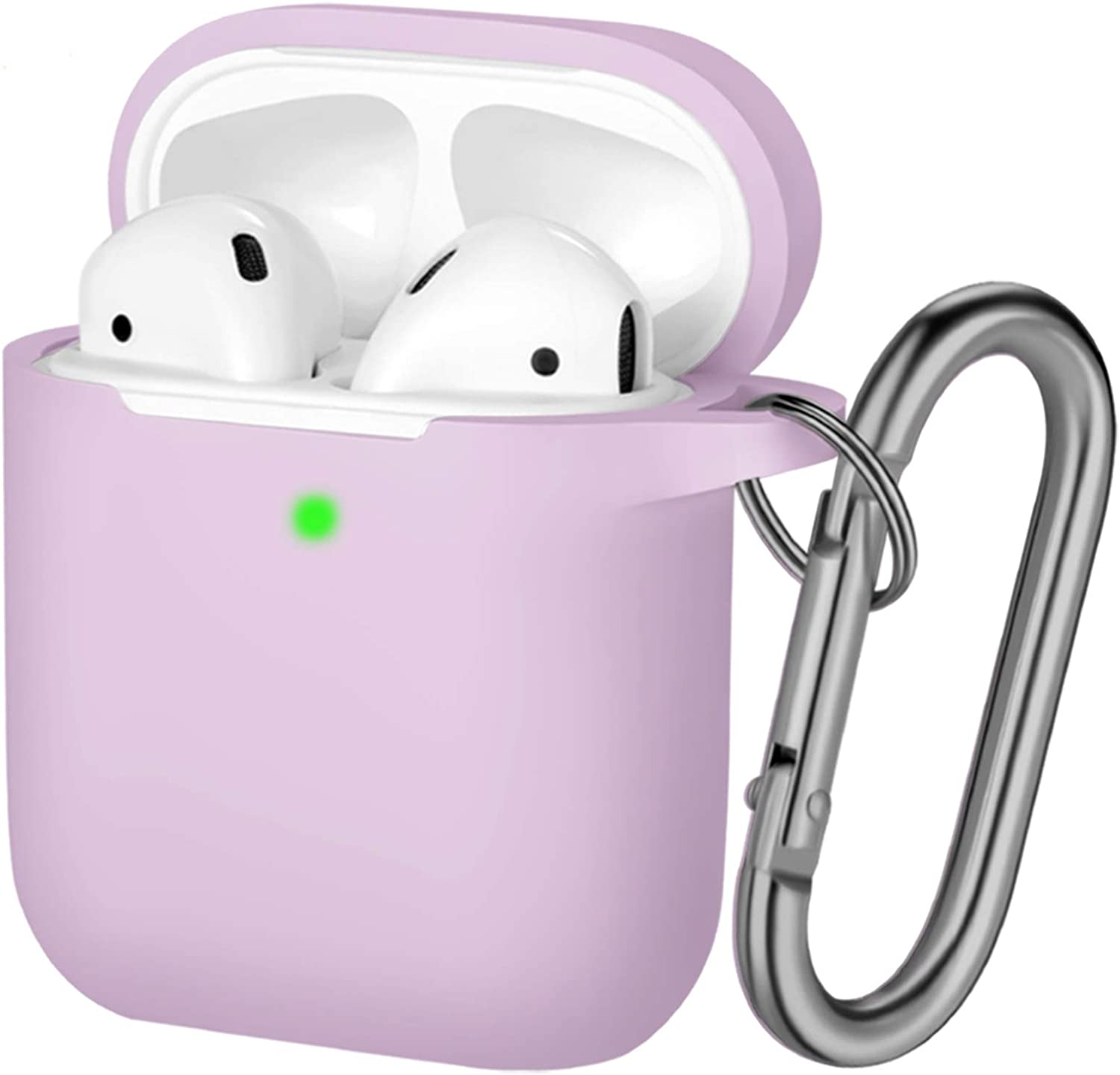 Hamile Compatible with AirPods Case [Front LED Visible] Soft Silicone Protective Cases Cover Skin Designed for Apple AirPod 2 & 1, Women Men, with Keychain (Lavender)