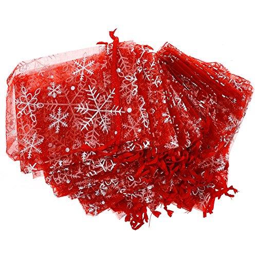 CALISTOUK 50PCS Snowflake Pattern Organza Bags Candy Wedding Favour Pouch 9 * 12CM Red