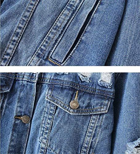 Cavo Vintage Eleganti Autunno Lunga Baggy Blu Lanceyy Da Cappotto Bavero Stlie Manica Denim Primaverile Donna Giacche Outerwear Jeans Giacca Casual Strappato Grazioso qwC0IX