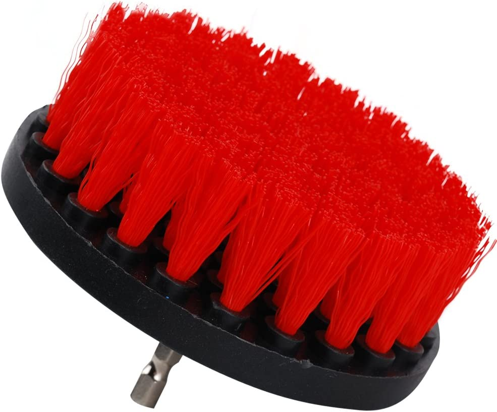 OxoxO Drill Brush/  / 5/ Inch Power Drill Attachment Medium Duty Scrubbing stiffness Scrub Cleaning Brush for Cleaning Bath Room surfaces Tile Grout Showers rouge