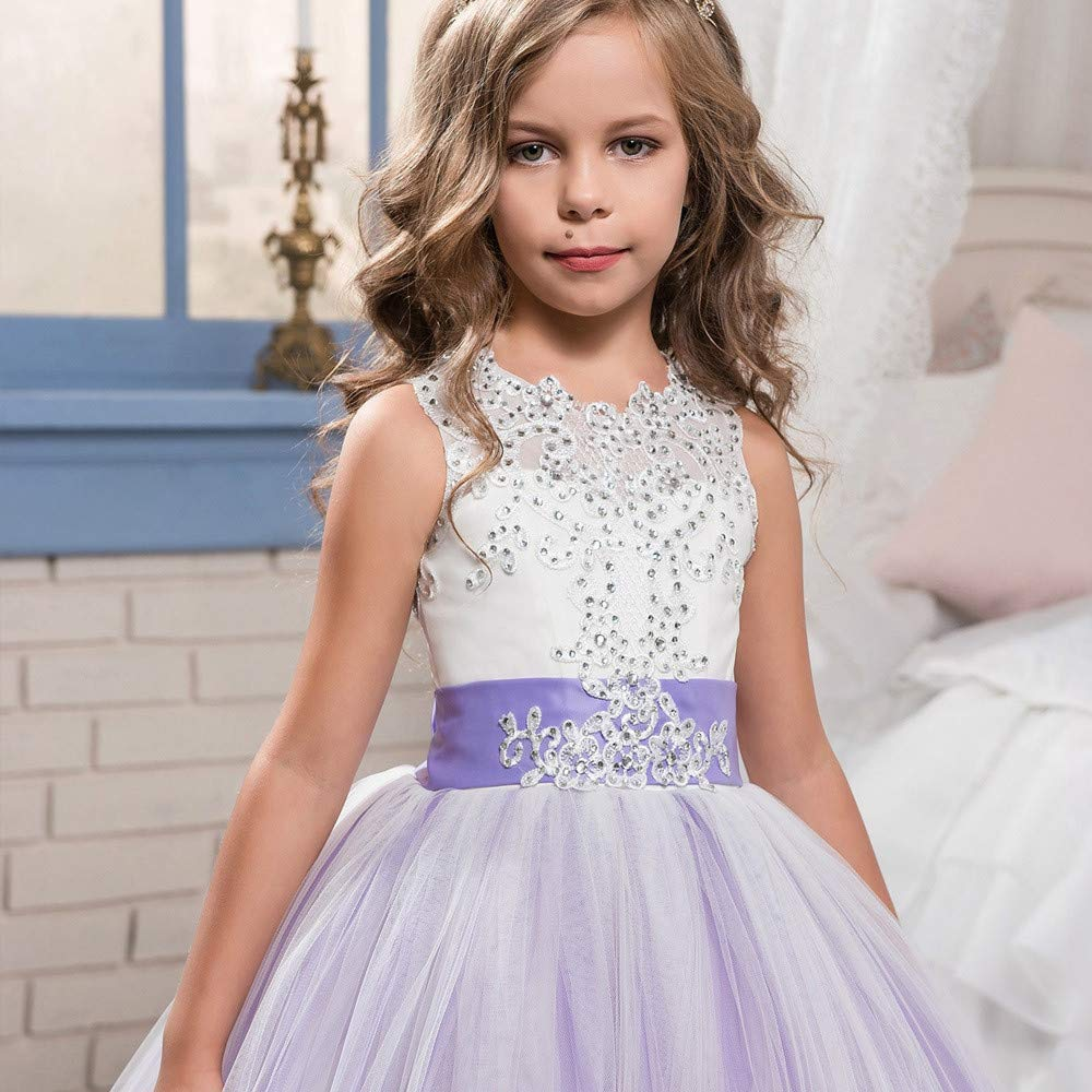 KONFA Teen Baby Girls Wedding Party Bridesmaid Dress,Suitable 4-13 Years,Little Princess Pageant Skirt Gown Set