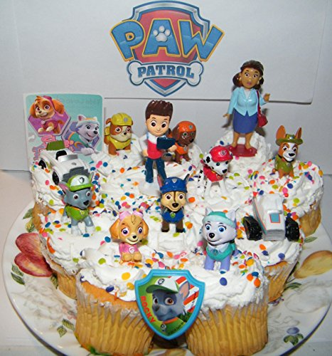 Party Decor Paw Patrol Cake Toppers Or Cupcake Decorations 14 Set Including New Pups Like Everest and Tracker, Original Pups, Fun Sticker, PupRing and New Vehicles. - Original Vehicle