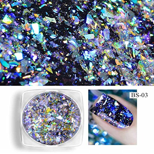 - Newkelly Neon Mirror Glitter Mirror Effect Rainbow Crystal Nail Powder