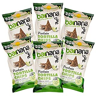 Barnana Grain-Free Plantain Tortilla Chips – Lime & Sea Salt – 4 Ounce, 6 Pack – Gluten-Free, Corn-Free, Paleo – Golden Brown, Perfect Crunchy Snack - Made With 100% Avocado Oil