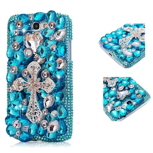 EVTECH(TM) 3D Handmade Rhinestong Series Crystal Diamond Rhinstone Design Bling Case Clear Cover for Samsung Galaxy Note II 2 N7100 I605 L900 I317 T889 T-mobile Version (100% Handcrafted)