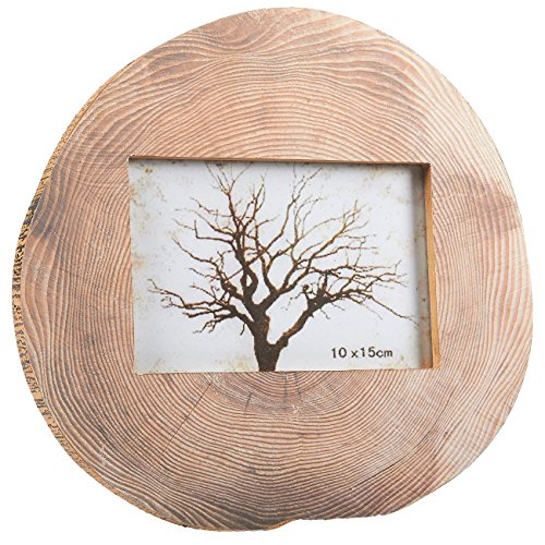 Round Wood Photo Frame - Horizontal Stand Picture Frame Tree Trunk Rings Designed Pattern for Desk Table Top, Home, Office and all Occasions Decoration, holds 4 x 6 Photo, 9.25 (Log Frame)