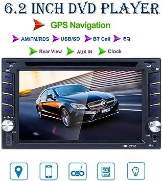 REAKOSOUND radio 2 din 6.2 pulgadas pantalla táctil de HD con GPS Navegador Blutooth FM Radio para coche apoyo AM/FM/DVD/USB/SD, AUX IN rear view: Amazon.es: Electrónica