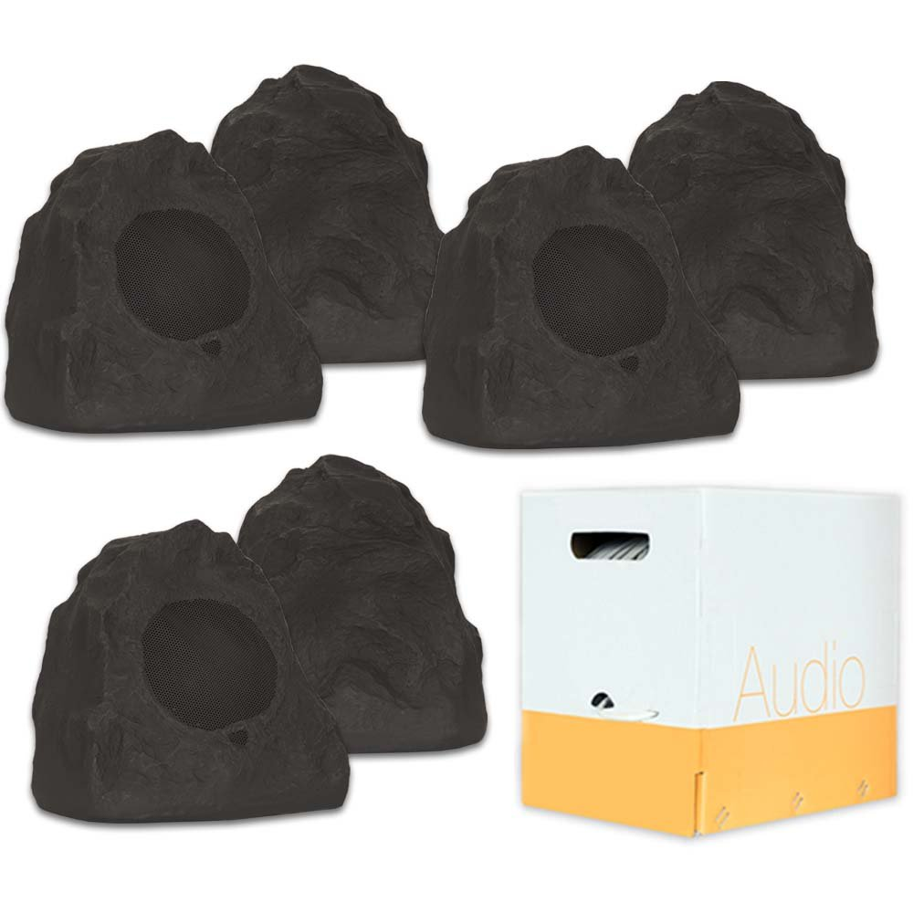 Theater Solutions 6R4L Outdoor Lava Rock 6 Speaker Set for Deck Pool Spa Patio Garden