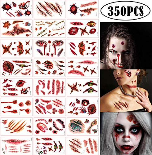 300+ Halloween Scar Temporary Tattoos - Vampire Zombie Party Supplies Decorations Bloody Cosplay Props - Realistic Fake Injury Wound for Halloween Costume Accessories(48 Sheets)