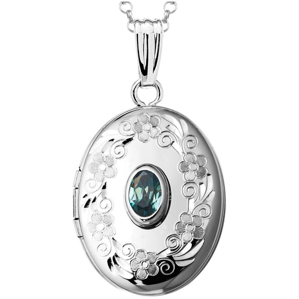 Finejewelers Sterling Silver Oval Locket Pendant Necklace with Genuine Blue Topaz December Birthstone