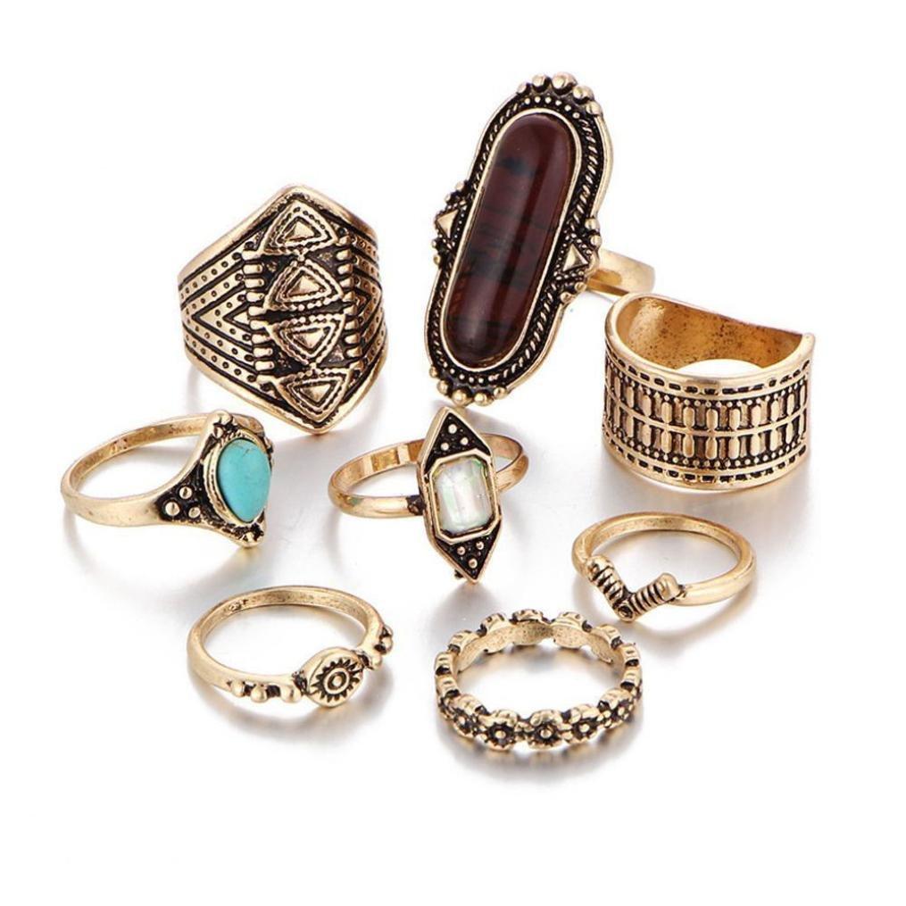 Rings Set;START 8PCS/Set Bohemian Elephant Head Arrow Moon Snack Turquoise Rings (8pcs Gold)