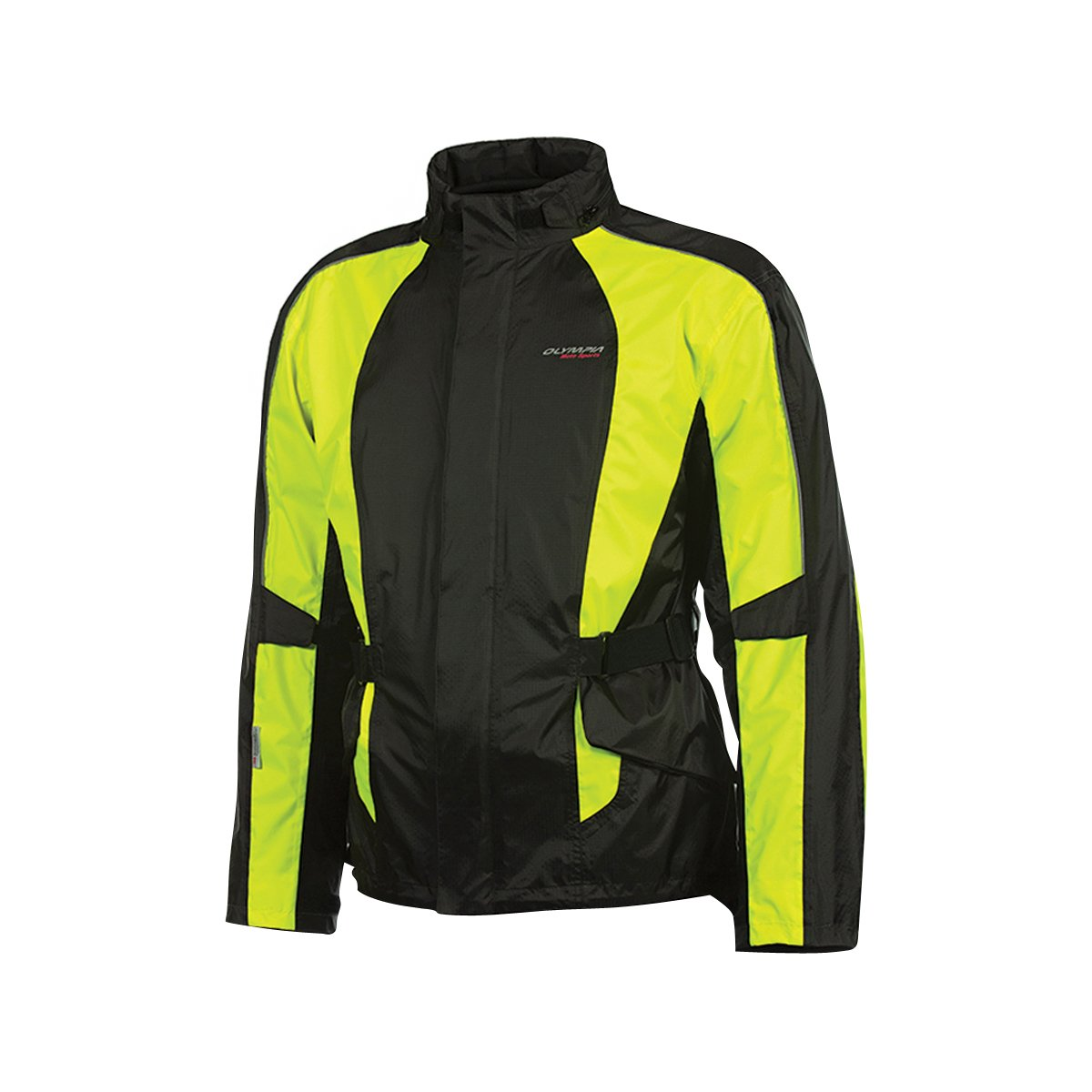 Olympia New Horizon Rain Mens Waterproof Exteriors and Rain Gear On-Road Racing Motorcycle Jacket - Black/Neon Yellow/X-Small/Small