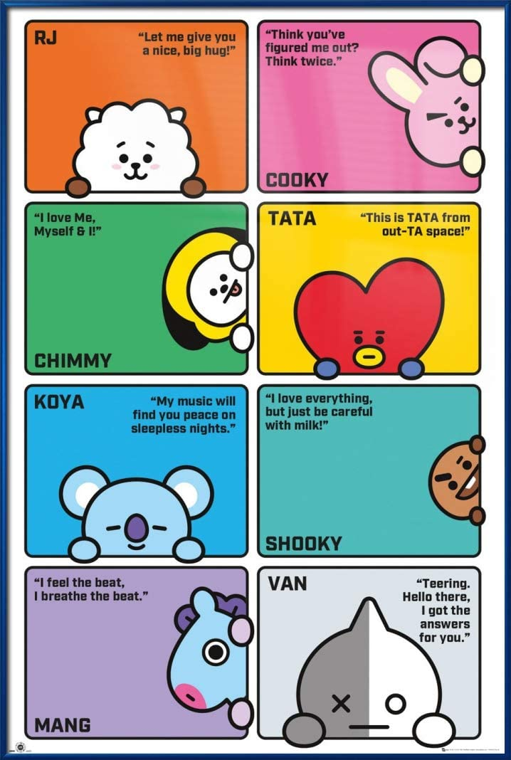 Amazon Com Bt21 Line Friends Poster Character Compilation Names Quotes Size 24 X 36 Inches Clear Poster Hanger Kitchen Dining