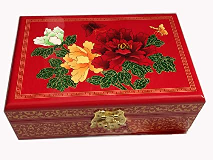 Hongge Caja Joyero,Empuje Laca luz Ware joyero Pintado artesanía joyería Accesorios Caja