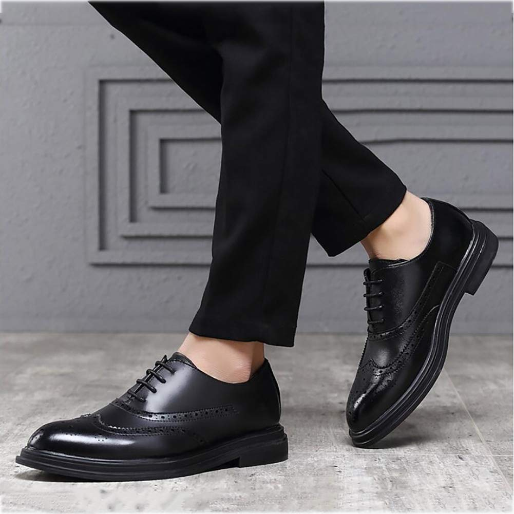FuweiEncore Zapatos de de de Hombre, Zapatos de Primavera, Zapatos de Negocios Formales para Hombre, Zapatos de Moda con Punta de Encaje, Fiesta Casual de Boda, Negro, 43 e5a930