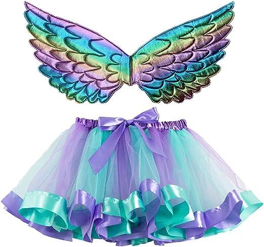 Museourstyty falda de tutú para baile de niña con alas de ángel ...