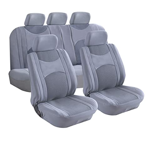 Enjoyable D Lumina 9Pcs Car Seat Covers Full Set Grey Side Airbag Compatible Split Bench Headrest Cloth Cover Pad Mats For Trucks Cars Suv Auto Vehicle Unemploymentrelief Wooden Chair Designs For Living Room Unemploymentrelieforg