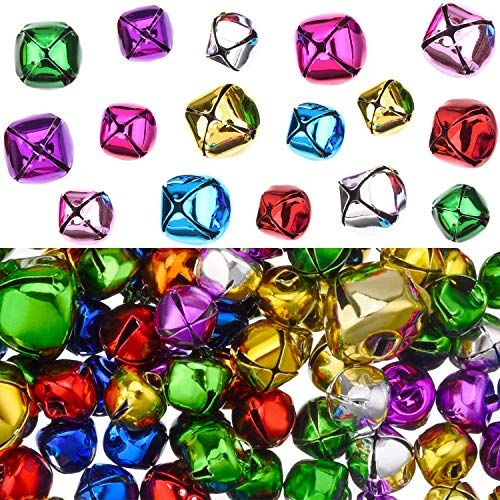 - 200 Pieces Party Jingle Bells Mini Small Bells Loose Beads Charms, Assorted Colors (10 mm, 15 mm)