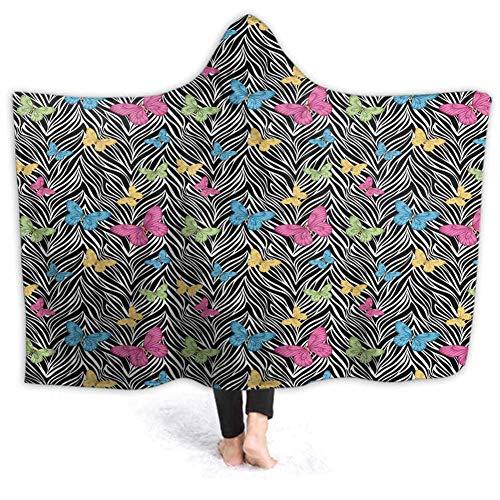 prunushome Hoodie | Hooded Robe Butterflies on Zebra Spa, Bathrobe, Sweatshirt, Fleece, Pullover, Blanket, Mens, Womens 50W by 40H Inches(with Hooded) (Zebra Bathrobes For Women)