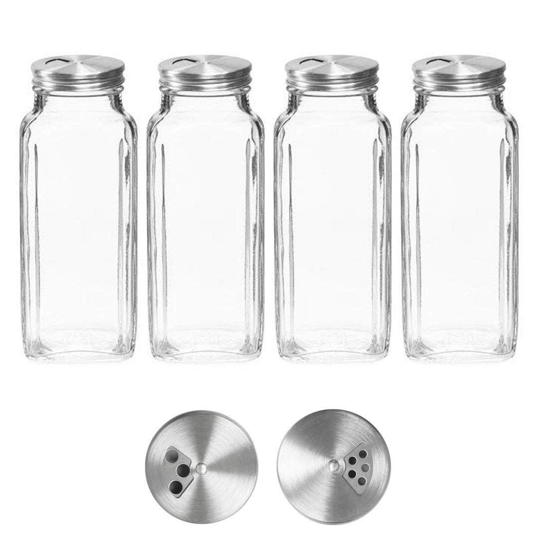 8 oz Spice Jars with Lids - Square Clear Glass Spice Bottles with Stainless Dispenser Caps by SpiceLuxe (4 Pack, Dispenser cap)