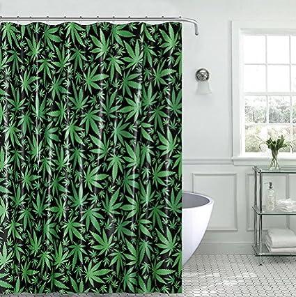 Royal Bath Novelty Mary Jane Marijuana Leaf PEVA Non Toxic Shower Curtain 70quot