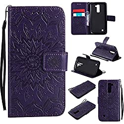 K10 Case, K10 Cover, Dfly-US Premium Soft PU Leather Embossed Mandala Design with Kickstand Function Card Slot Holder Slim Flip Protective Wallet Cover for LG K10, Purple