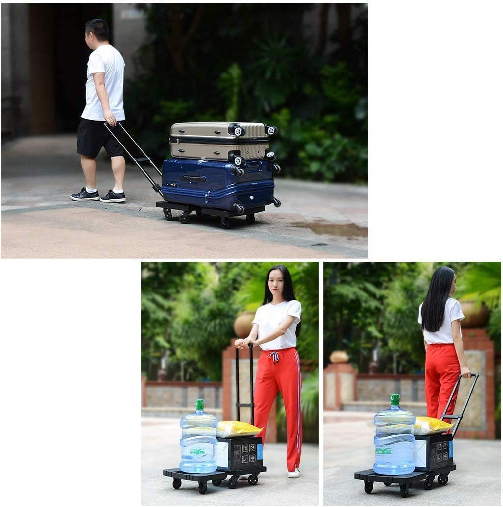 BBG Multifunction Portable Hand Trucks Shopping Cart,Outdoor Garden Tool Cart Home Truck Folding Universal Wheel Luggage Cart Sack Trolley Bearing About 200Kg,Black,70/×40/×100cm