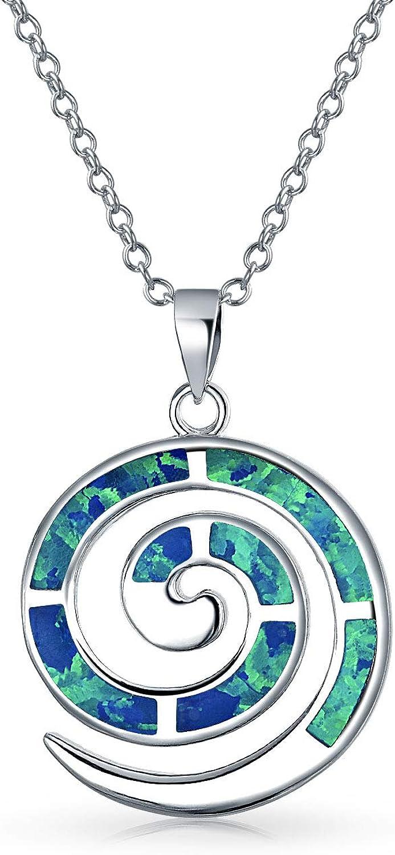 Creado Redondo Azul Opal Inlay Laberinto Espiral Colgante Collar De Viento Para La Mujer Para Novia 925 Plata De Ley 925