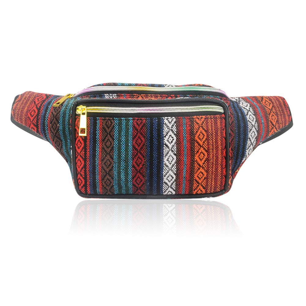 Retro Boho Stripe Waist Eco Fanny Pack Festival Rave Sport Travel Hiking Purse Bum Bag Charm 4 One Size