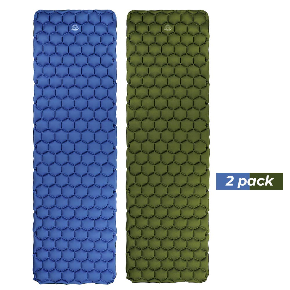 DEERFAMY Camping Inflatable Sleeping Pad, Backpakcing Inflating Sleeping Pad Lightweight Compact Portable 2 Pack(Blue and Army Green) by DEERFAMY