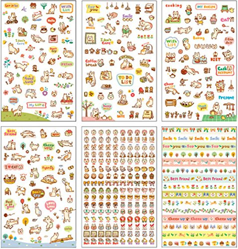 Hosaire Sticker 6 Sheet Cute Cartoon Cat Transparent Calendar Diary Book Sticker Scrapbook Diary Album Phone Sticker Planner Decoration - 6 Sheet Calendar