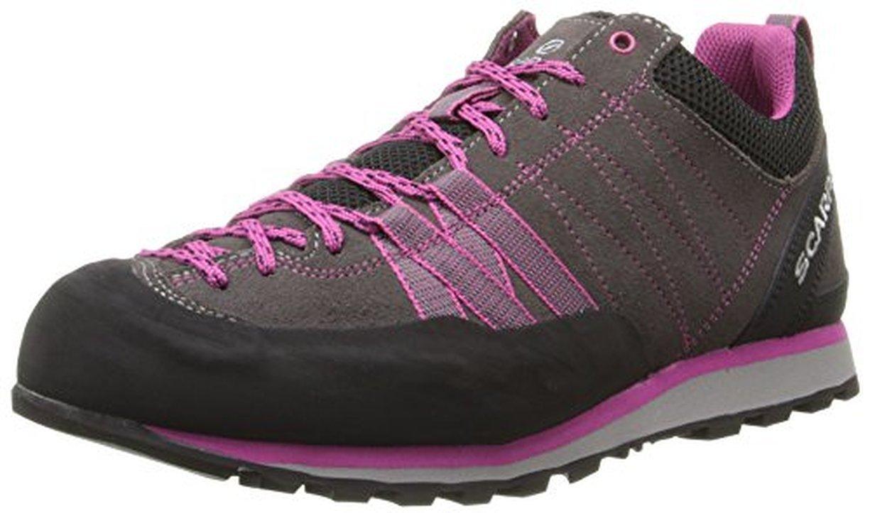 Scarpa Women's Crux Climbing Shoes Mid Grey / Dahlia 41 & Etip Lite Gripper Glove Bundle