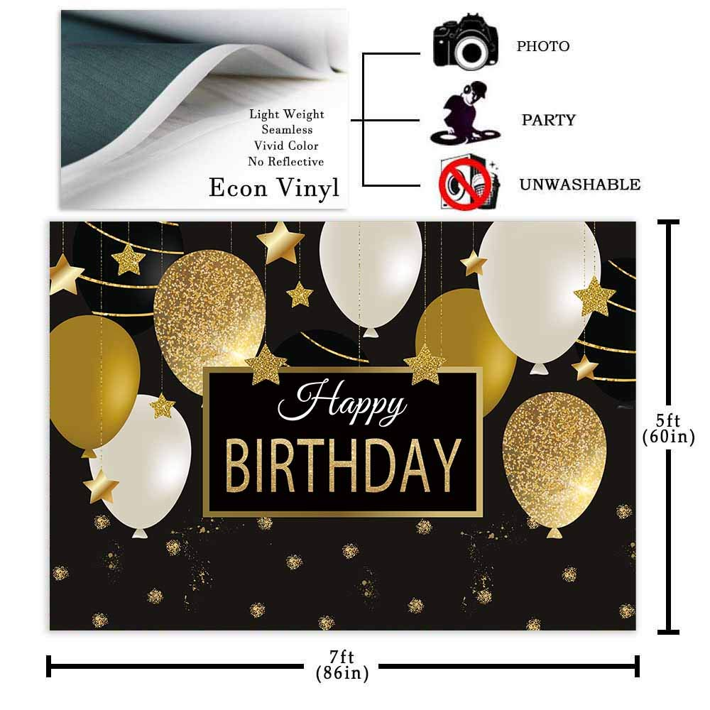 Allenjoy 7x5ft Happy 30th 40th 50th 60th Birthday Backdrop Black Gold Balloons Golden Glittering Sparkling Stars Men Women Bday Party Background Photo Studio Booth Kids Cake Table Banner by Allenjoy (Image #4)