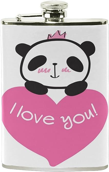 ALAZA I Love You princesa Panda petaca 8 oz A prueba de fugas ...