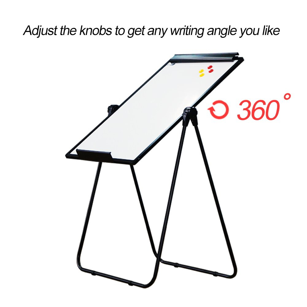 XIWODE MagneticEasel-style Dry Erase Board, Flip Chart Black U-StandWhiteboard, 36 x 24 Inch,Aluminum Framed, with Metal Clipsand Eraser, Foldable WhiteBoard for School, Home, Office by XIWODE (Image #3)