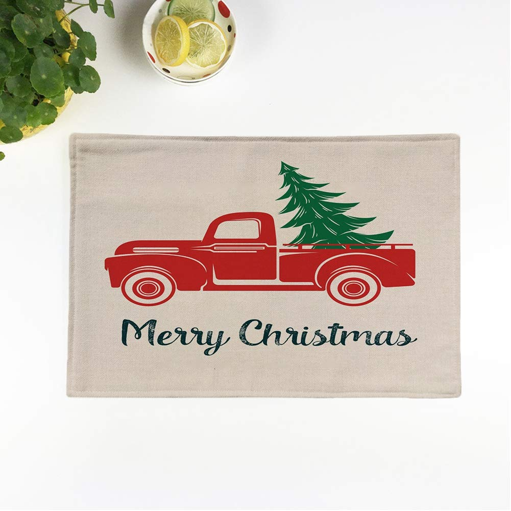 Vintage Red Truck Christmas Placemats.Amazon Com Awowee Set Of 4 Placemats Truck Red Car