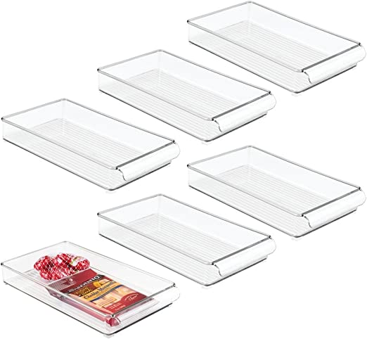 4 x 2 x 14.5 Clear InterDesign Refrigerator and Freezer Storage Organizer Tray for Kitchen Set of 6