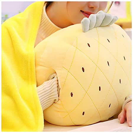 Segreto 3 in 1 Cue Fruit Plush Stuffed Toys Throw Pillow with Folded Blanket Set and Hand Warmer for Travel Nap Chick