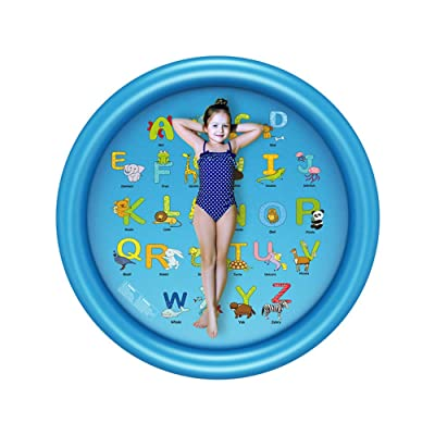 """Updated 66.5 inch 3-in-1 Sprinkler for Kids, """"from A to Z"""" Splash Pad, and Wading Pool for Learning – Children's Sprinkler Pool, Inflatable Water Toys – Outdoor Swimming Pool for Babies and Toddlers: Toys & Games"""