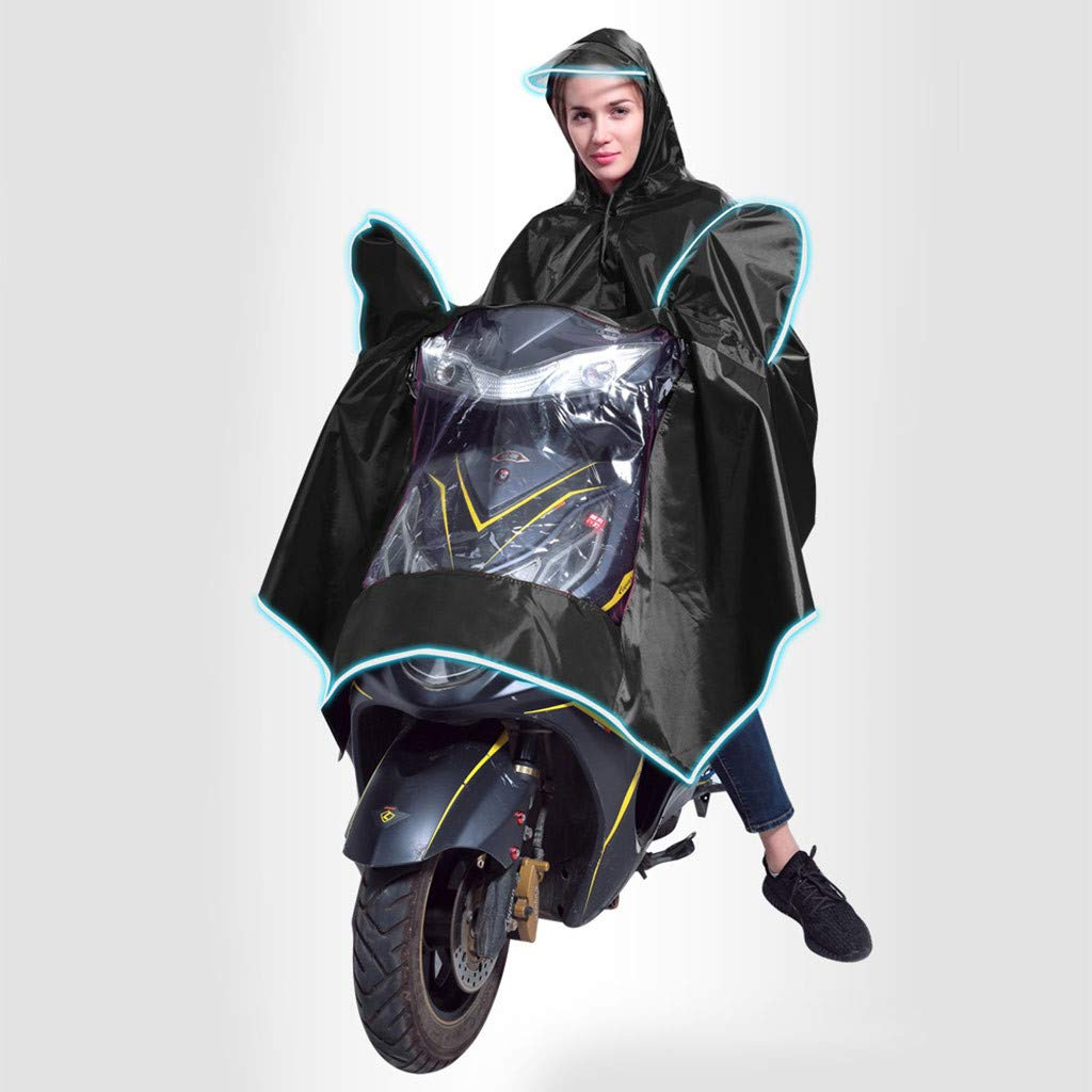 Uplord Windproof Waterproof Motorcycle Scooter Rain Hoodie Coat Night Light Hood Poncho Women Men Big Raincoat Cover Cape Poncho Rainwear and Storage Bag by Uplord