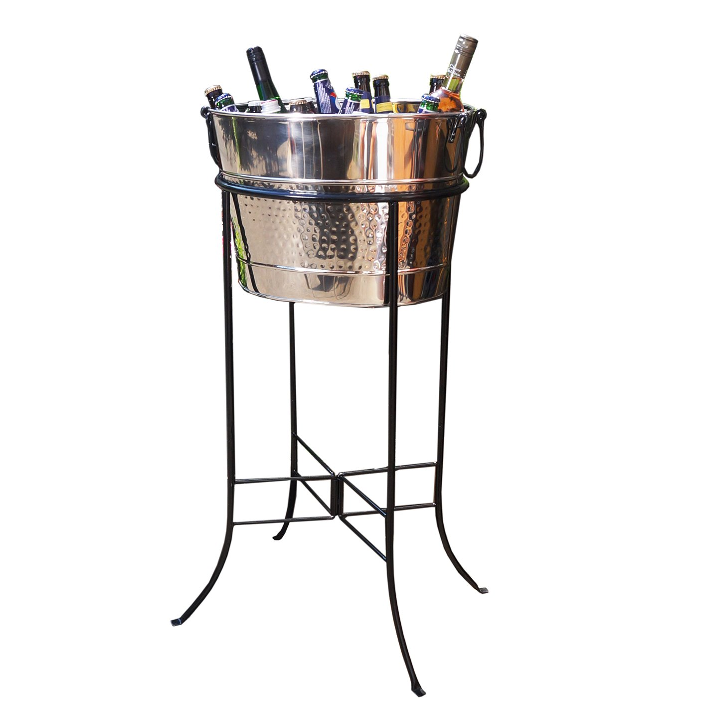 BREKX Hammered Stainless Steel Silver Beverage Tub with Black Iron Stand - Large Party Accessory